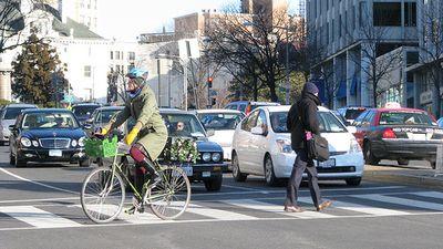 Woman biking dc groceries