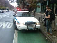 Cop in bike lane