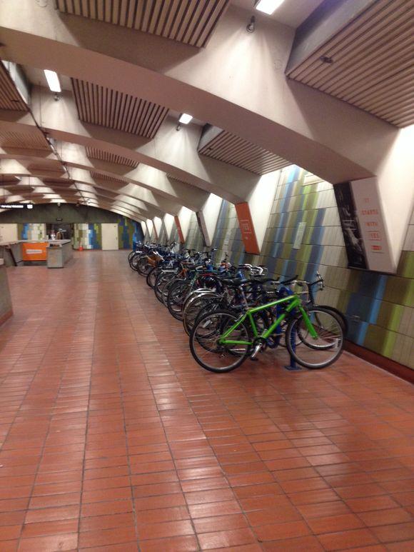 In station bike parking