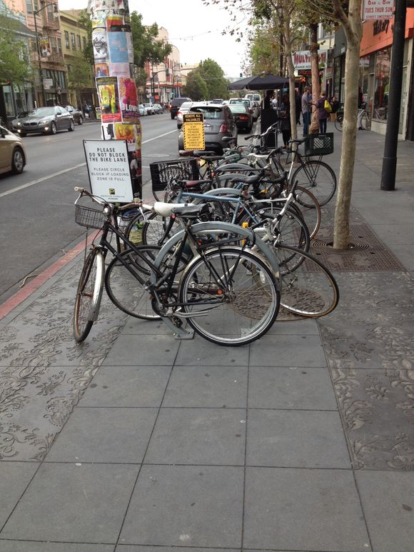 Bump out bike parking