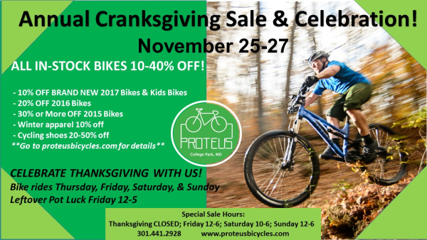 Proteus cranksgiving sale ad 2016