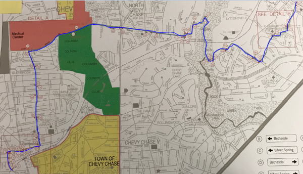Outlined trail route